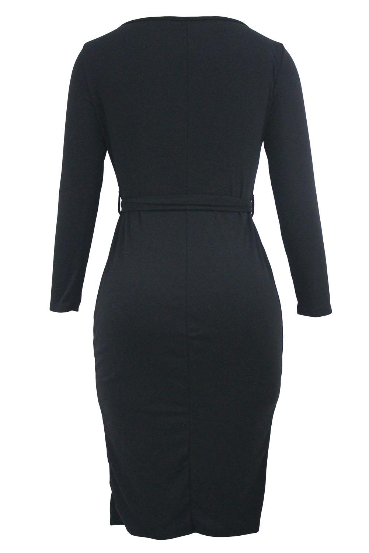 Черное вязаное длинное платье с рукавами москва