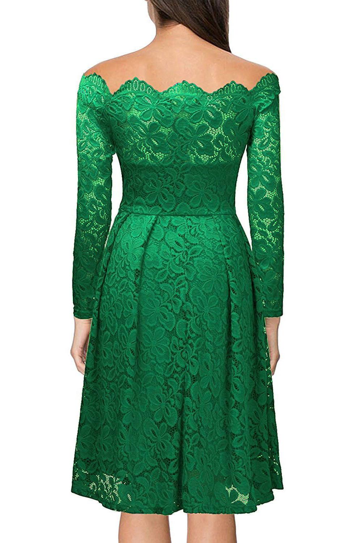 c9bc2cb2ce0ff47 Зеленое кружевное платье А-силуэта с открытыми плечами и фигурным декольте