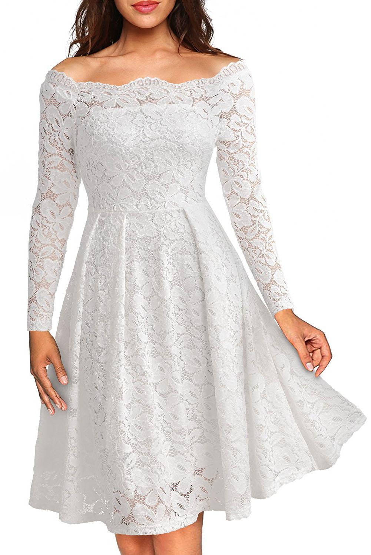 30ab9fb5c74d5d4 Белое кружевное платье А-силуэта с открытыми плечами и фигурным декольте