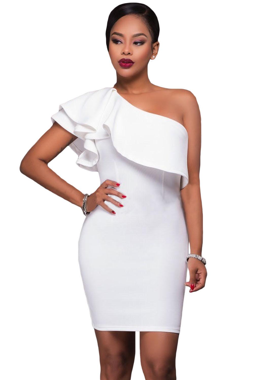 787cb40de98 Асимметричное белое платье-футляр на одно плечо с пышным воланом сверху