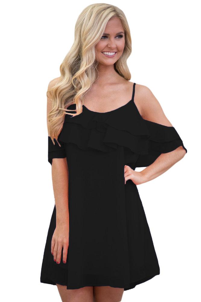 9b6e558db86 Черное платье-сарафан со спущенными рукавами-воланами - купить в Казани