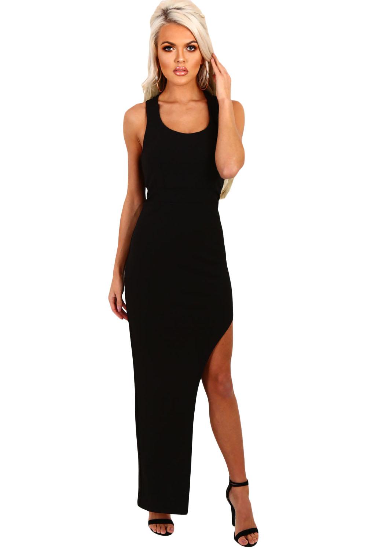 5d778184d00 Черное асимметричное макси платье с высоким разрезом - купить ...