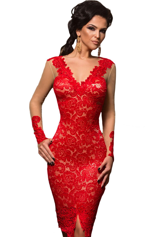 59221ed8e82 Красное кружевное платье миди с телесными вставками и длинными рукавами