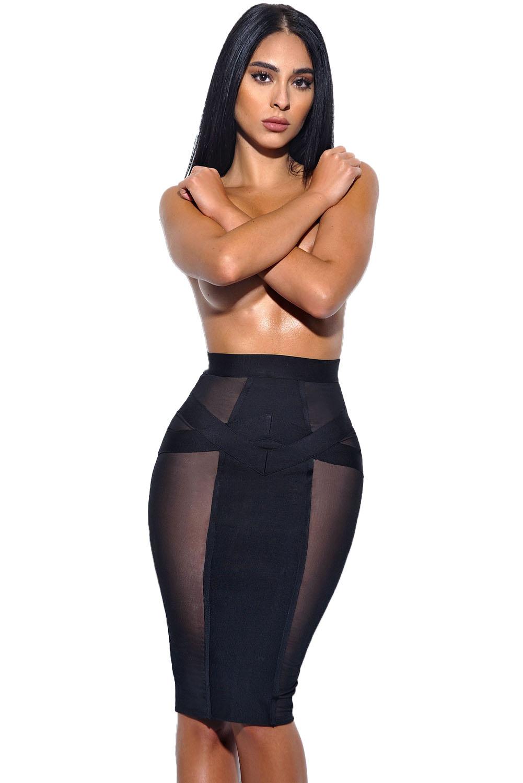 Черная узкая юбка миди