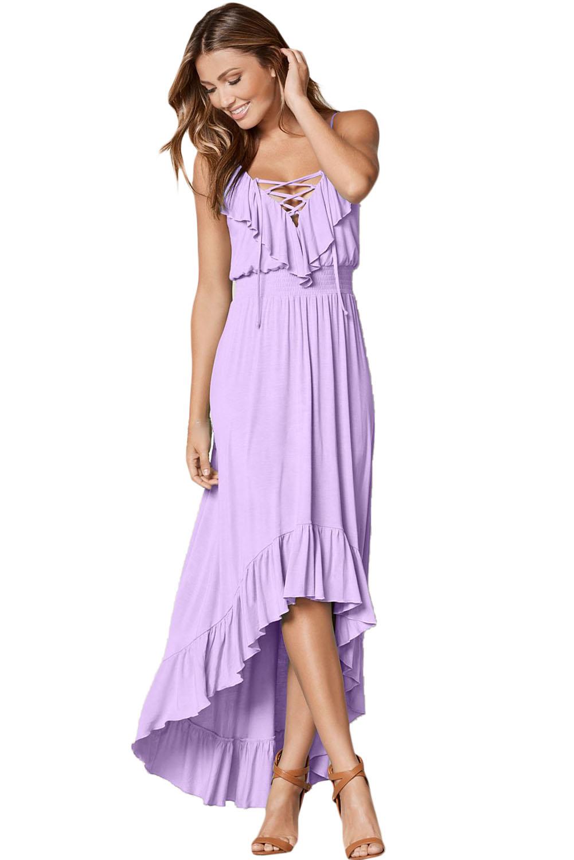 c2d48bee1e3 Удлиненное сзади лиловое платье с воланами и шнуровкой - купить ...