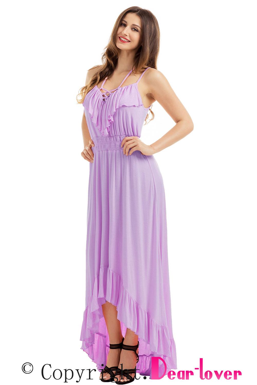 32288bdf964 Удлиненное сзади лиловое платье с воланами и шнуровкой - купить в ...