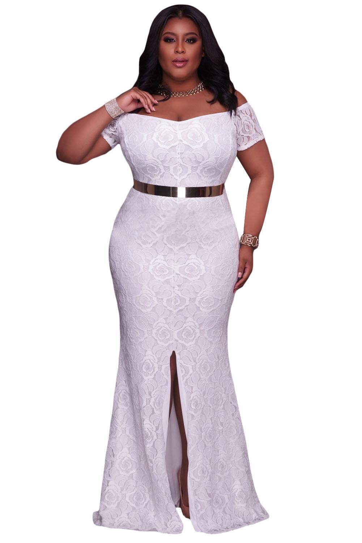 Белое кружевное платье в пол со спущенными рукавами и разрезом на юбке ca3f8becf4d