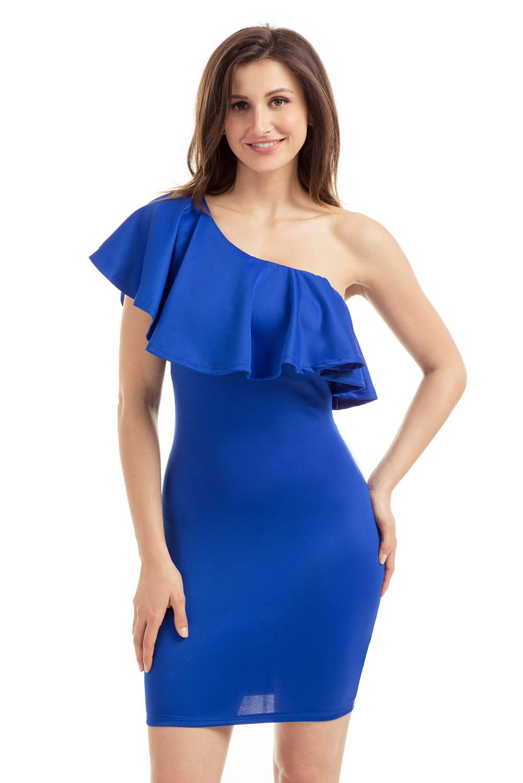 Платья синие на одно плечо фото