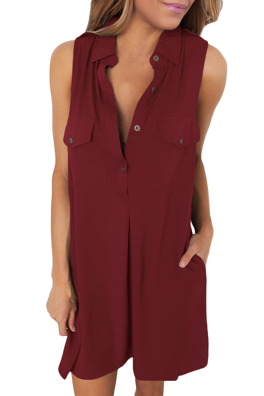 b693fe55d7c Бордовое платье-рубашка без рукавов и с карманами - купить ...