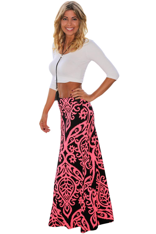 9012ebd5c09 Черная макси юбка-трапеция с коралловым орнаментом - купить оптом