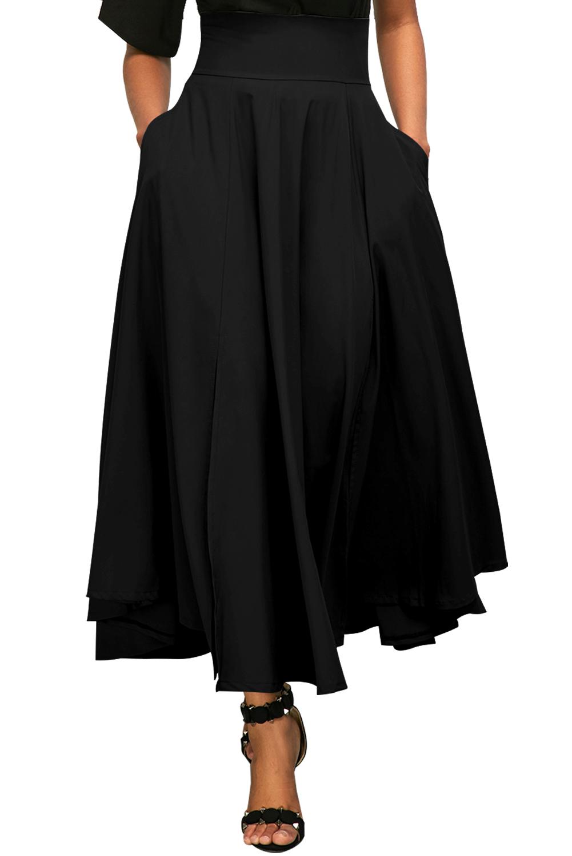 5a098c5cd6f2 Черная расклешенная макси юбка с высокой талией и поясом-бантом в ретро  стиле