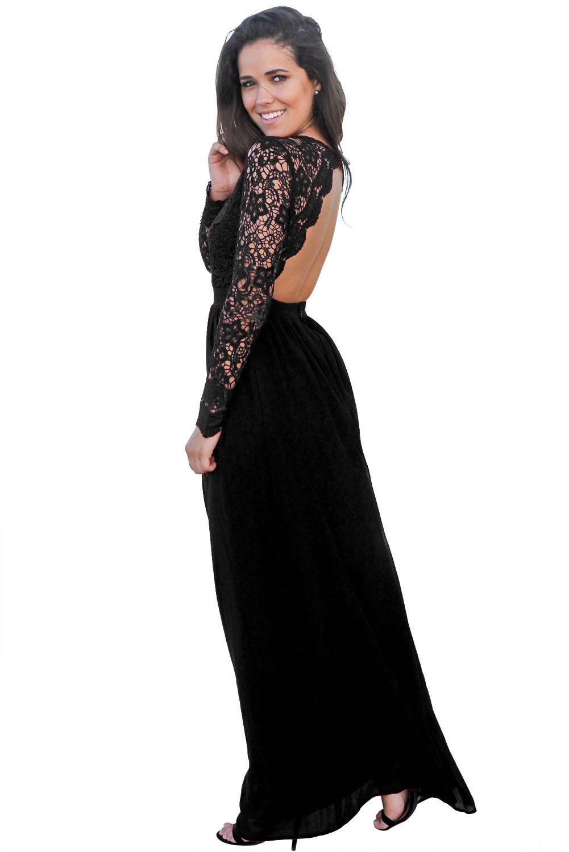 7212e537e55 Черное вечернее платье с длинными кружевными рукавами и открытой спиной