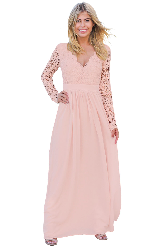 44d31a1dc69a487 Розовое вечернее платье с длинными кружевными рукавами и открытой спиной
