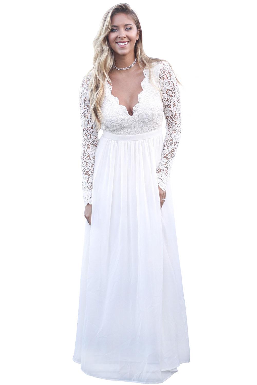 Белое вечернее платье с длинными кружевными рукавами и открытой спиной 72e08f8c03f
