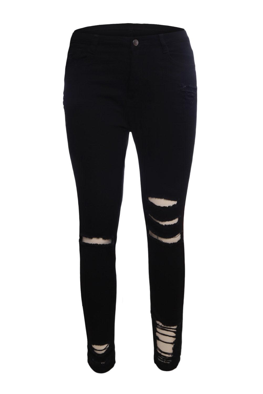 81689f29d12 Черные джинсы-скинни с дырами и разрезами - купить наложенным платежом
