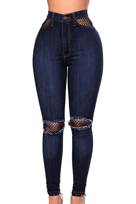 330e702d194 Темно-синие джинсы с высокой талией и черными сетчатыми вставками ...