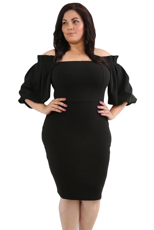 e4165739d5d4637 Черное платье бодикон со спущенными рукавами-фонариками - купить оптом
