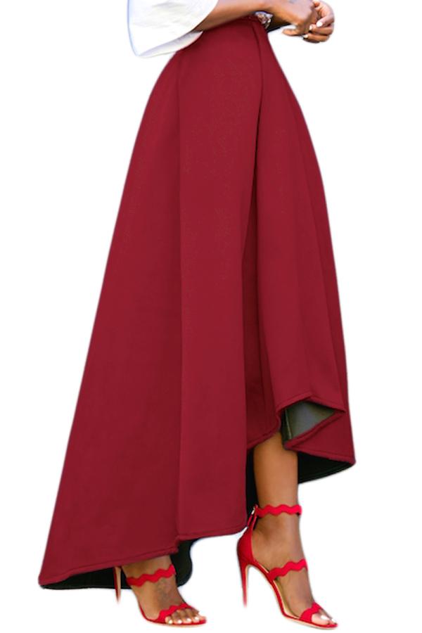 83fcce5844be Пышная бордовая юбка с удлинением сзади и карманами в боковых швах