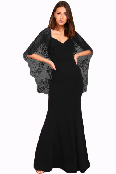 10869f6574f Черное вечернее платье с глубоким V-образным вырезом на спине и кружевными  рукавами-накидкой