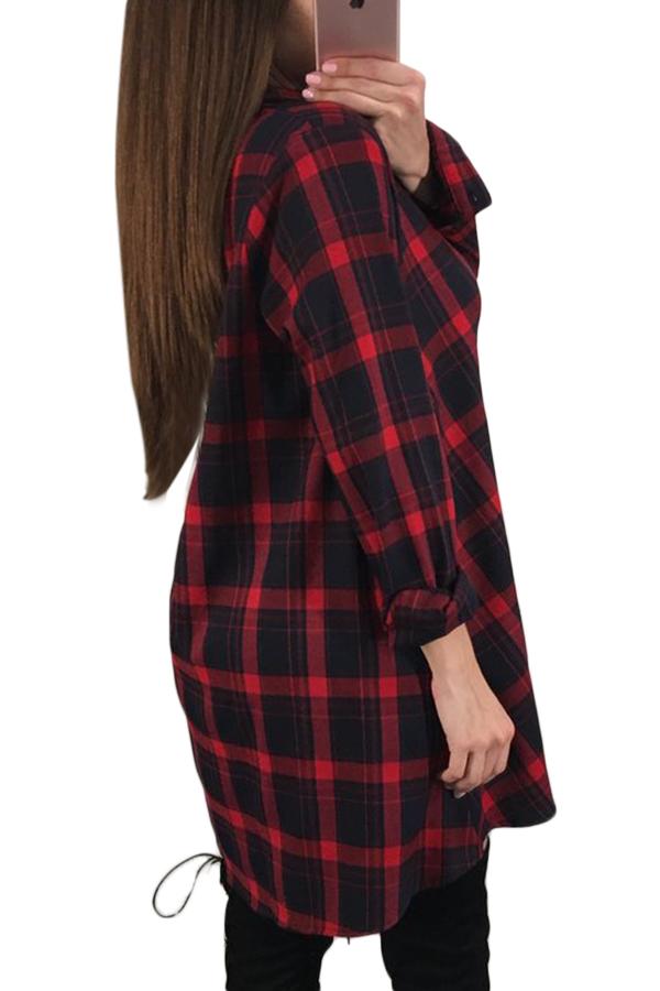 0052e46a06eb Длинная рубашка в крупную черно-красную клетку в винтажном стиле