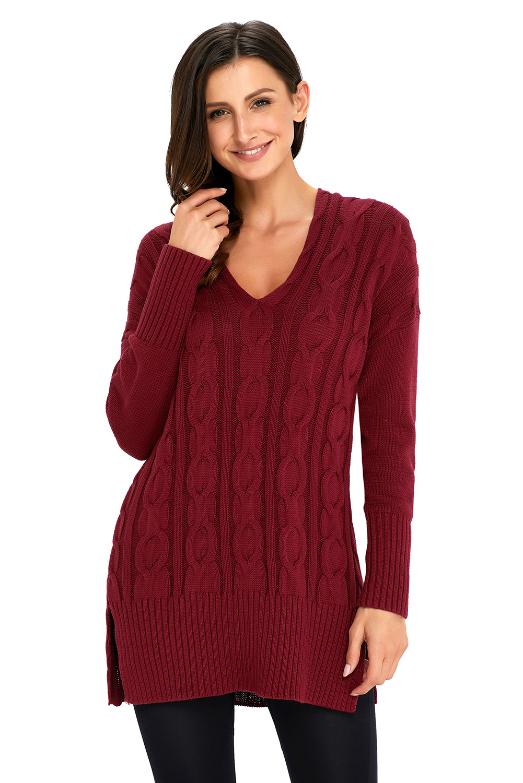 бордовый вязаный свитер в стиле оверсайз с крупным узором из кос
