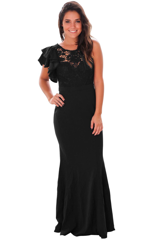 298bcedae51 Черное вечернее платье с кружевом на топе и воланами на одном плече ...