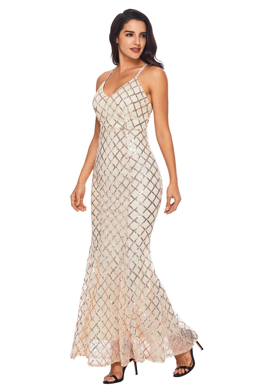 Светлое вечернее платье с ромбовидным золотистым узором - купить ... 7b85d1e6081