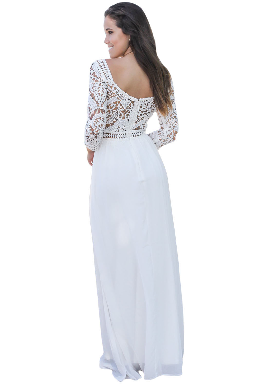 Белое Платье Рукавом Купить