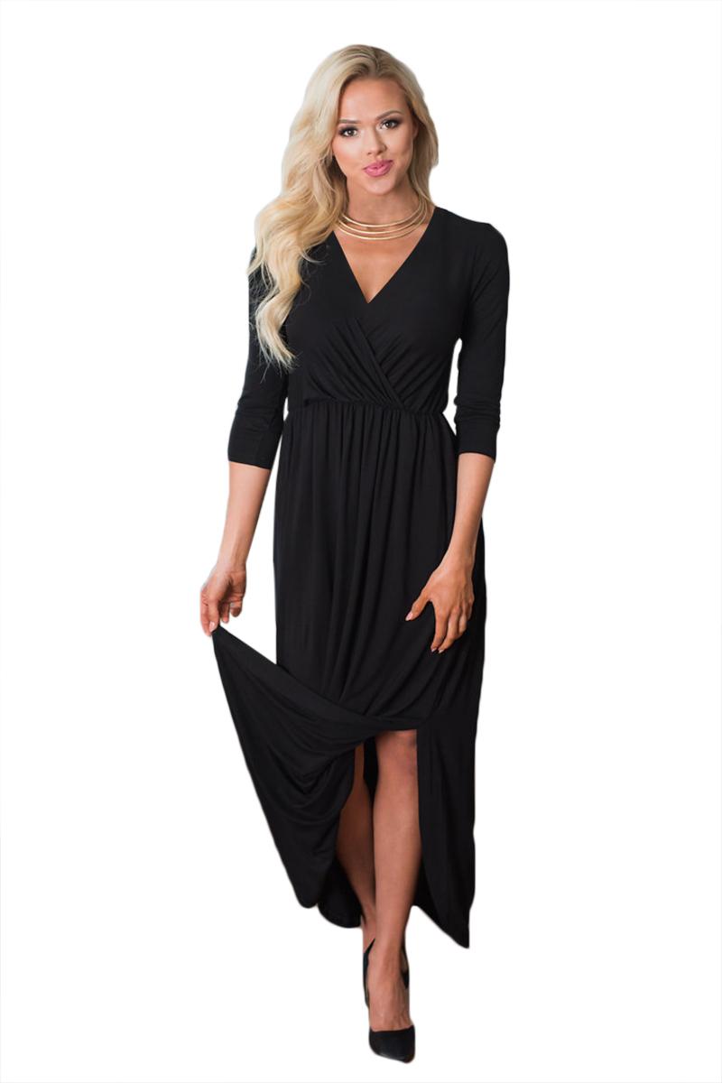 3ea57e65d2c1f71 Черное приталенное макси платье с запахом и расклешенной юбкой ...