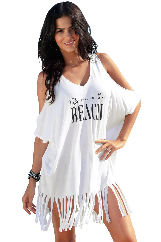 f9ca965232d01ec Белое пляжное платье-туника с надписью и бахромой - купить в Санкт ...