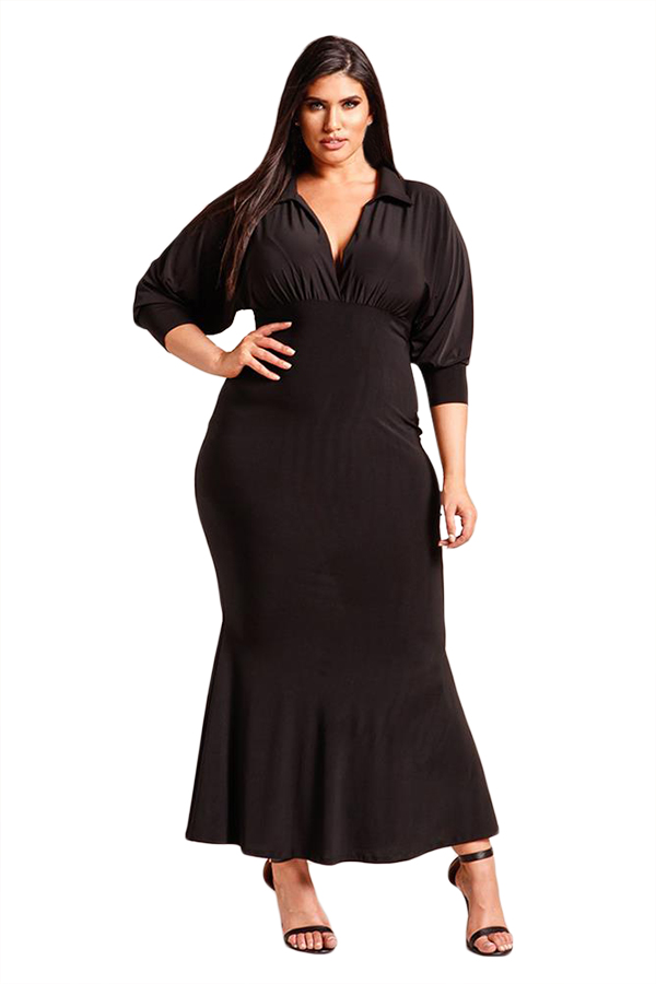 d3146d13dd7 Черное макси платье-русалка с V-образным вырезом и рукавами с манжетами - купить  наложенным платежом