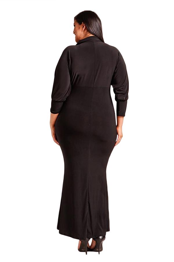 85d3b85f793 Черное макси платье-русалка с V-образным вырезом и рукавами с манжетами