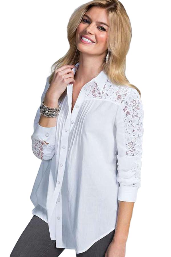 3ba6174a01b Белая блуза-рубашка с кружевными вставками - купить наложенным платежом