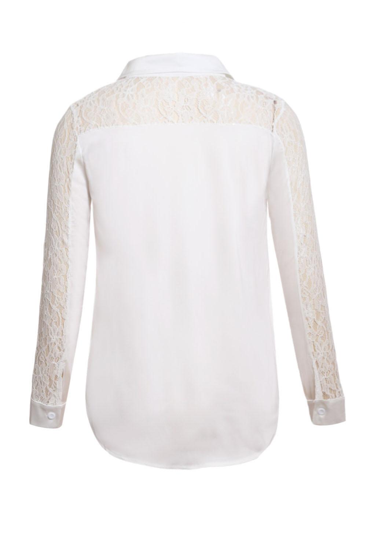 ad2322b2e66 Белая блуза-рубашка с кружевными вставками - купить оптом
