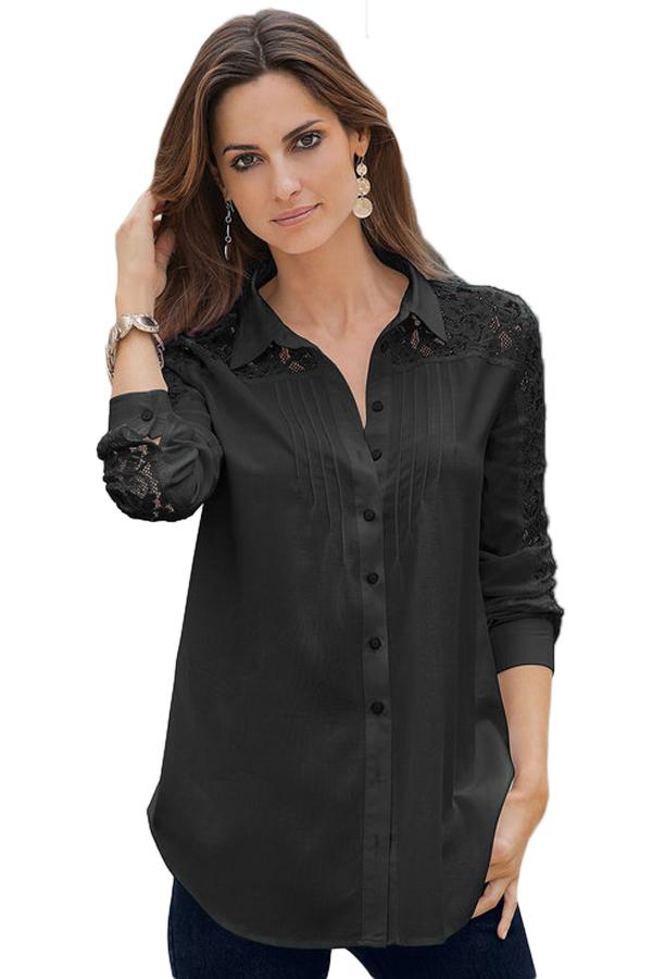 95524c1dabb Черная блуза-рубашка с кружевными вставками - купить наложенным платежом