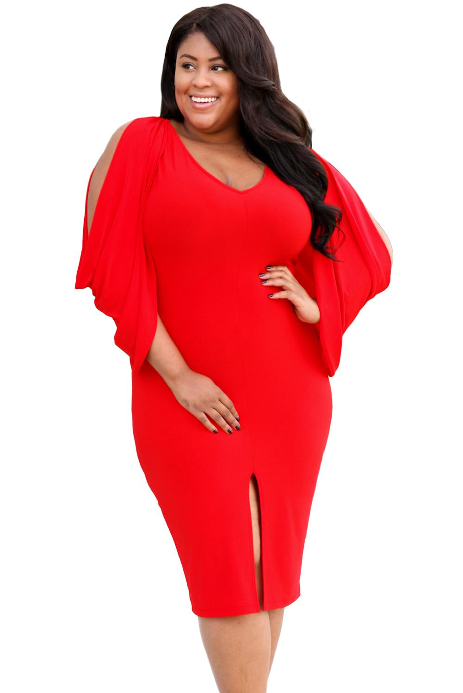 0a72a421e87 Красное платье-футляр с разрезом на юбке и ниспадающими распашными рукавами