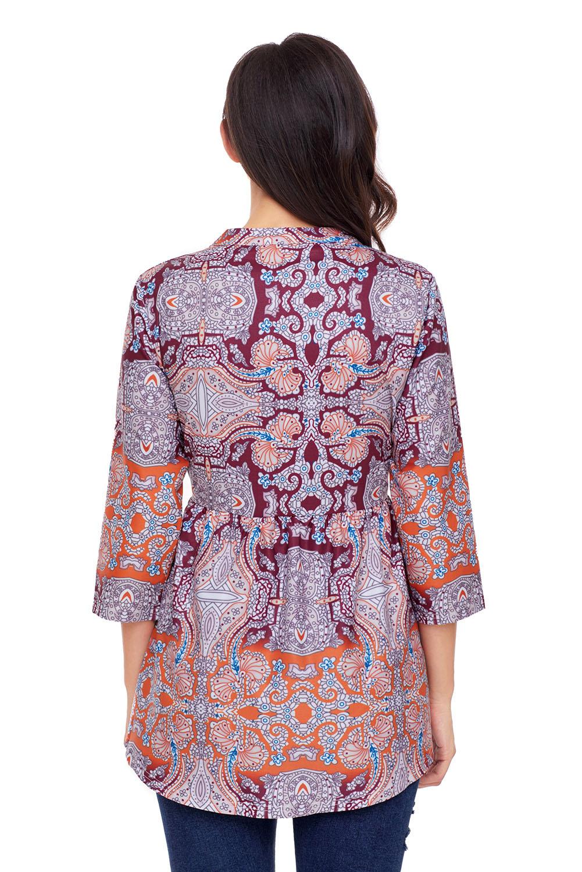 04649c819d5 Оранжево-фиолетовая шифоновая блуза-туника с абстрактным принтом ...