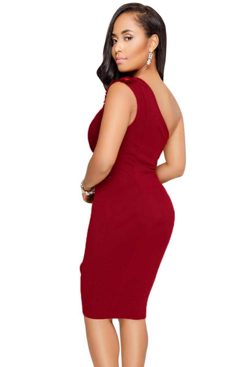 164e1d5ac1621bf Красное коктейльное платье на одно плечо с вышивкой и цветком ...
