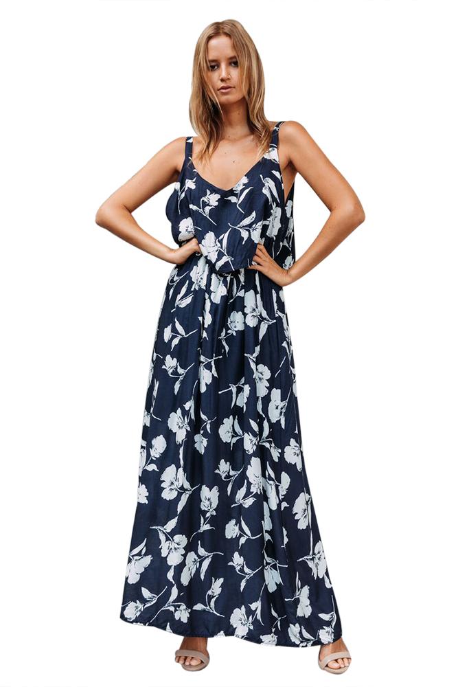 537c0d47411 Темно-синее в цветы платье-сарафан макси длины - купить в Нижнем ...