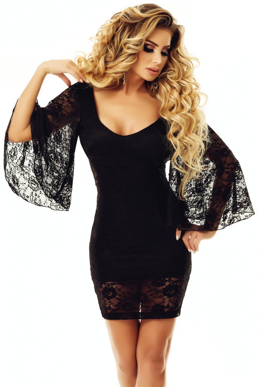 18a52610de0 Черное кружевное мини платье с расклешенными рукавами и открытой спиной