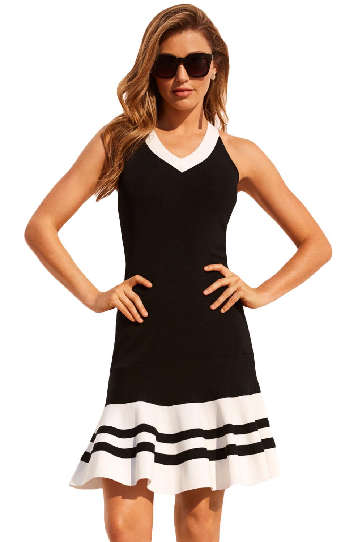 22dfac95a3b35f4 Черное платье с белой отделкой и воланом внизу - купить наложенным платежом