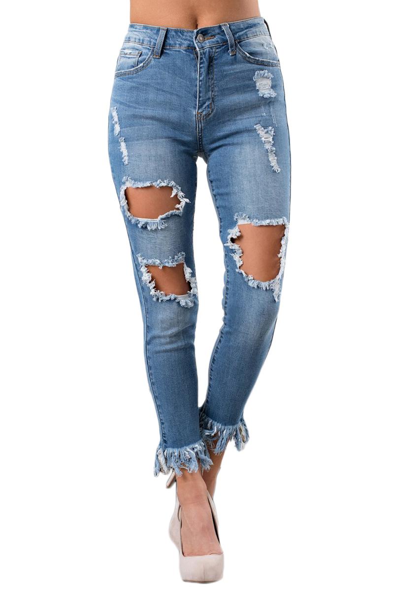 1308f997da8 Голубые джинсы скинни с дырками и бахромой - купить наложенным платежом