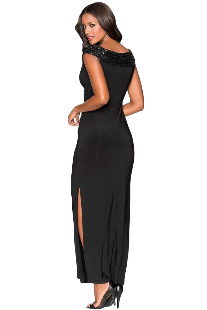 89c7b40dec0 Черное приталенное платье с запахом и отделкой пайетками - купить в ...