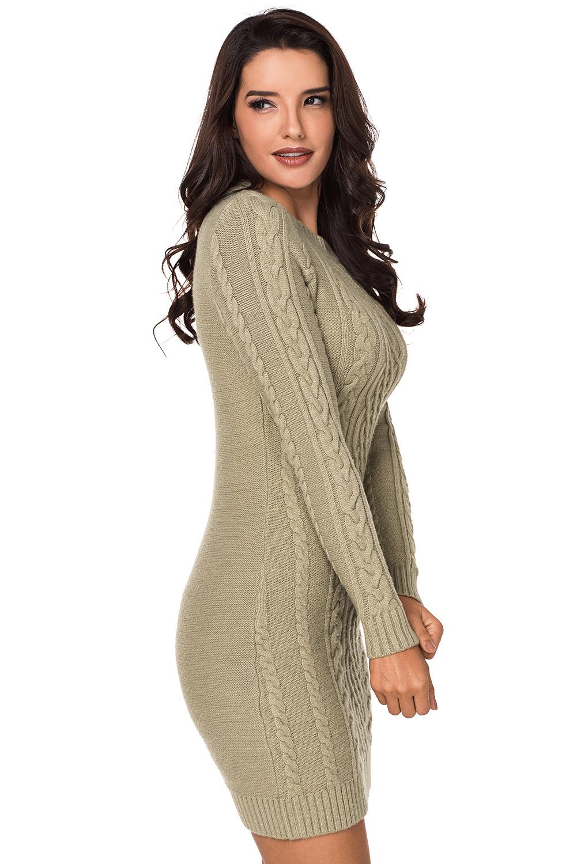 Бежевое вязаное платье-туника с круглым вырезом - купить наложенным ... b277136fdaf