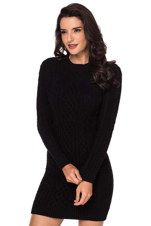 черное вязаное платье туника с круглым вырезом купить наложенным