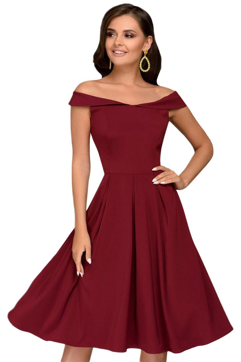 b573a1b8f95cfae Бордовое платье миди с пышной юбкой и открытыми плечами - купить ...