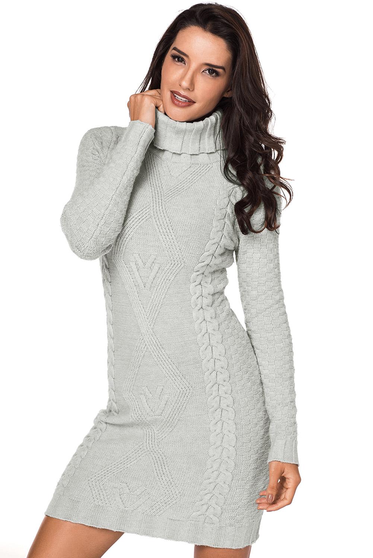серое вязаное платье свитер с высоким воротом купить наложенным