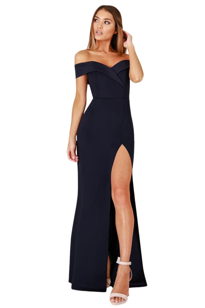 04efcc8f740ba37 Темно-синее вечернее платье с высоким разрезом и спущенными рукавами ...