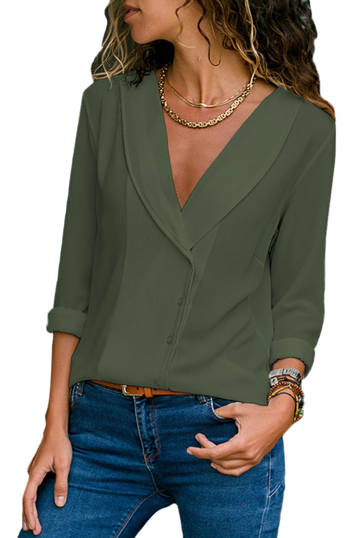 fba688165e5 Оливковая блуза с закругленным отложным воротником - купить ...