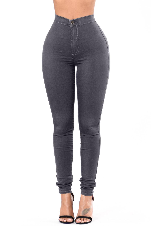 6c8780b28ed Темно-серые джинсы-скинни с высокой талией и накладными карманами сзади